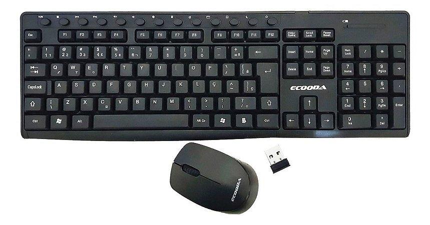 Kit Teclado E Mouse Sem Fio Wireless 2.4ghz Ecooda MS8028