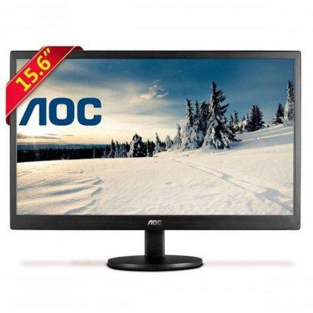 "Monitor Led 15,6"" Polegadas AOC E1670SWu Widescreen Preto"