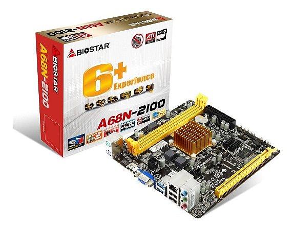 Placa Mãe Integrada Bios Star + Processador CPD Dual Core A68N-2100 AMD E12100 ITX