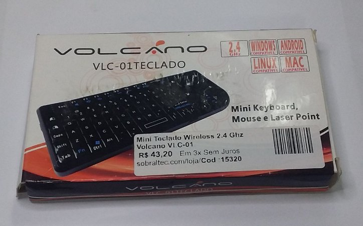 Mini Teclado Wireless 2.4 Ghz Volcano VLC-01