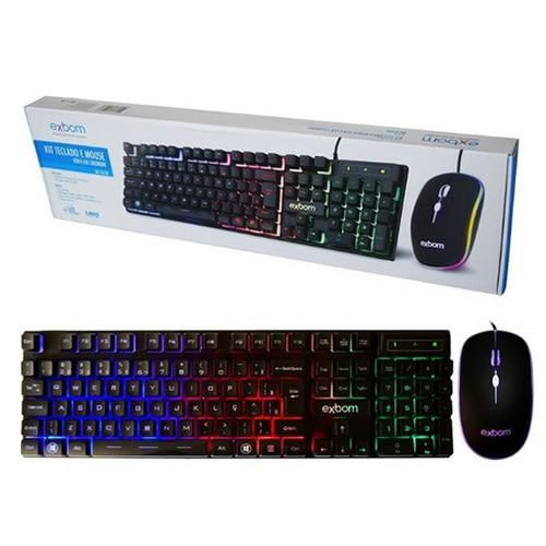 Kit Teclado e Mouse USB Gamer com LED Exbom BK-G550