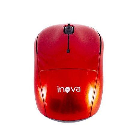 Mouse Óptico Sem Fio Wireless Usb Inova Mou-6925- Vermelho