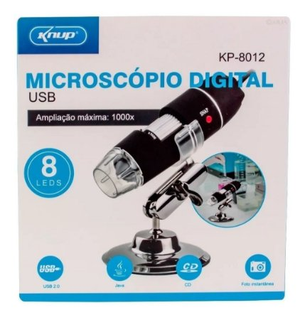 Microscópio Digital Usb 1000x Hd 8 Leds Kp-8012 Knup