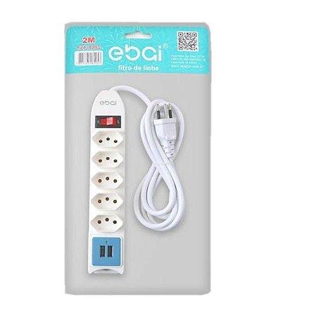 Filtro de linha Ebai FZ-8205 com 5 Tomadas e 2 USB Bivolt 2Metros Branco