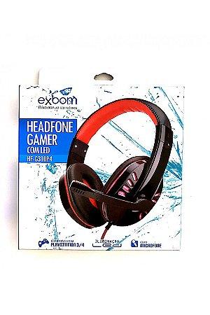 HeadPhone Gamer Ps4 Com Microfone Usb P2 Led Jogos Exbom HF-G310p4