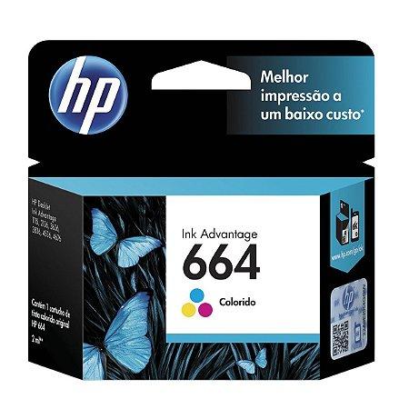 Cartucho Hp 664 Color F6v28ab Para HP Deskjet 2136/ 2676/ 3776/ 5076/5276 Rende até 100 Paginas