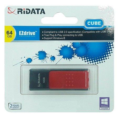 Pendrive Ridata EZdrive Cube 32GB USB 2.0 - Preto/Vermelho