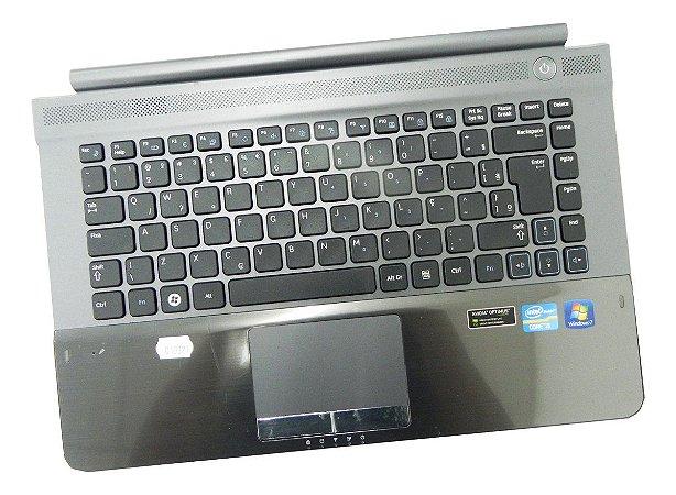 Carcaça Com Teclado Notebook Samsung Rv411 Preto Cinza