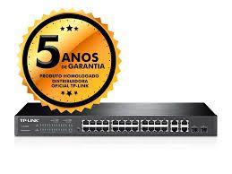 Hub Switch de 24 Portas TP-Link T1500G-28PCT TL-SL2428P Poe+2SFP 10/100/1000MBPS