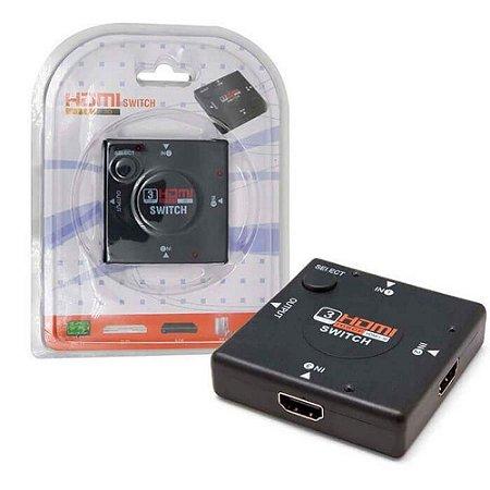 Switch HDMI Auto 3 Portas de Entrada 1 Porta Saída 1080P 3D