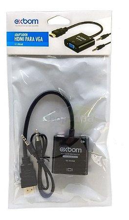 Conversor HDMI Para VGA com Cabo Áudio P2 - Exbom CC-HVA60