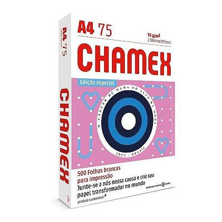 Papel Chamex A4 75g/m2 210 x 297cm Office Branco 500Fls Edicao Especial Outubro Rosa