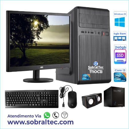 Computador Completo Core i3 - H61- Hd Ssd de 240 Gb-Memória de 4 Gb Monitor 15 Tec/Mouse Windows 10