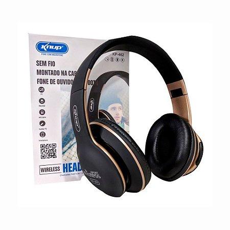 Fone De Ouvido Wireless, Bluetooth E Cabo Knup Kp-462 Com Entrada Sd Card