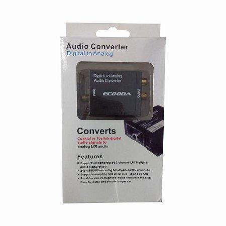 Conversor De Áudio Coaxial Ou Toslink Digital Para Rca Ecooda Ex2719