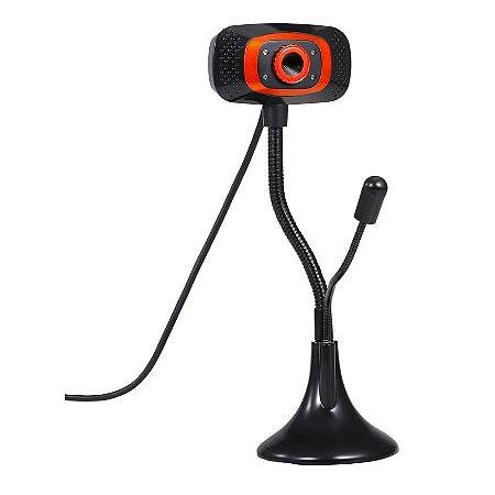 WebCam 480p Usb Com Led e Microfone Usb 2.0 Com Tripé Flexivel
