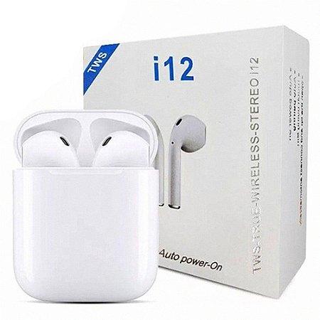 Fone de Ouvido Wireless i12 TWS Bluetooth 5.0 para Iphone e Android
