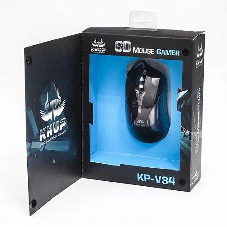 Mouse Gamer Usb 6D 6 Botões 3200Dpi de Resolução Knup KP-V34