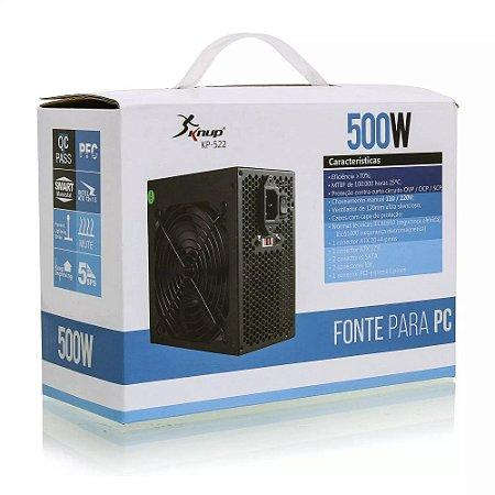 Fonte de Alimentação ATX Potencia Real 500W Knup- KP-522