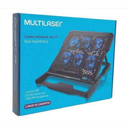 Base Refrigeradora Ergonômica com 6 Cooler Fans LED Azul Multilaser AC282