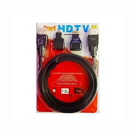 Kit Cabo HDMI 3 Em 1 HDTV Adaptadores Mini E Micro HDMI Cabo De 1,5M