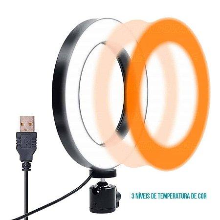 Ring Light LED 10 Polegadas 26cm 120 LEDs Dimmer 3200K à 5600K Tripé de Mesa Iluminador em 3 Cores e 5 Níveis de Brilho