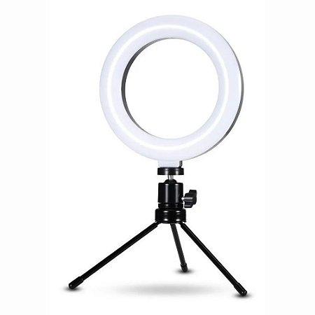 Iluminador Ring Light Usb 6 Polegadas 48 Leds 16Cm 3200k 5600k Com Mini Tripe 15Cm Exbom ILUM-R06W5