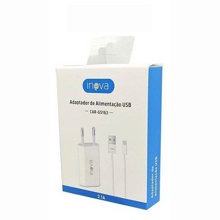 Carregador USB Iphone 5V 2.1A Com Cabo Lightning Separado Box Branco Inova CAR-G5163