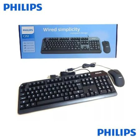 Kit Teclado e Mouse Wired Simplicity Compacto Designe Philips C212