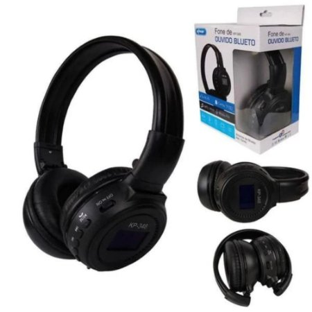 Fone De Ouvido Bluetooth Sd Fm Radio Preto Knup Kp-348