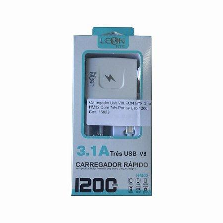 Carregador Usb V8LEON GTS 3.1a HM02 Com Três Portas Usb 1200