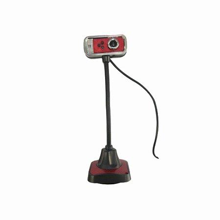 Webcam De Mesa 480 Pixels Com Microfone Cabo Usb Vermelho Com Prata