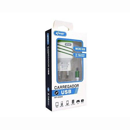 Carregador USB V8 Micro Usb 1 Entrada Usb 2.1A Corrente Máxima 5V Knup KP-IC004