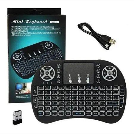Mini Teclado Wireless Iluminado Com Mouse Touchpad Ps3 Tv Box Smartphones Pc