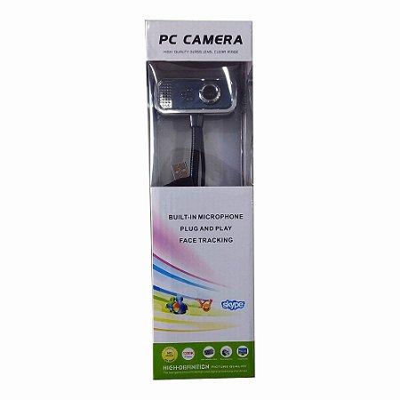 Webcam De Mesa 480 Pixels Com Microfone Cabo Usb Azul Com Prata