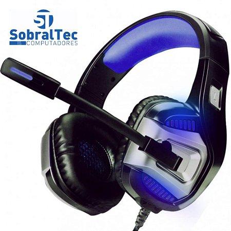 Headphone Gamer 7.1 Drive Hyperx LED Som Surround Microfone GH-X1800 Preto e Azul