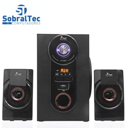 Sistema De Som Bluetooth MP3 Hi-Fi USB Cartão SD Knup KP-6002BH