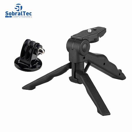Suporte De Mão e Mini Tripé Ajustável 360 Para Celulares e Cameras Com Adaptador Gopro