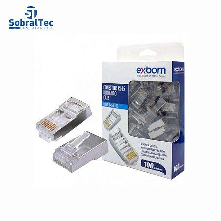 Conector Blindado RJ45 Cat5E Gigabit Ethernet PCT 100 UND ExBom Cont-RJ45M100