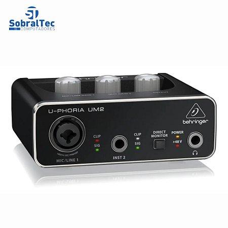 Interface De Áudio U-Phoria UM2 Behringer 2 Canais 16 bits/48 kHz