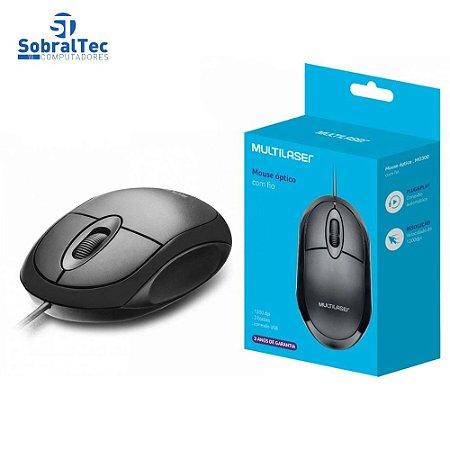 Mouse Óptico Básico Black USB 1200DPI MO300 Multilaser