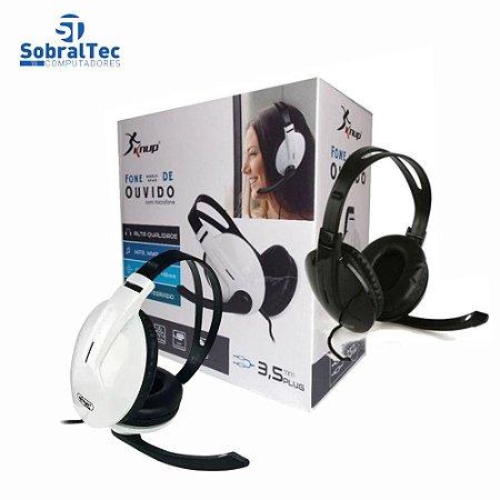 Fone De Ouvido Headset Com Microfone 2 P2 3,5mm Acolchoado Alta Qualidade Knup KP-418