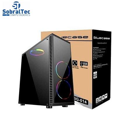 Gabinete Gamer BG-014 Preto Bluecase - Sem Fonte Lateral Em Acrílico Usb 3.0