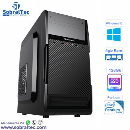 Computador Pentium Dual Core -HD SSD 128GB - Memória Ram 4GB- Micro- ATX MT-11BK C3Plus- Windows 10