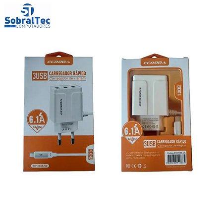 Carregador Rápido Com 3 Portas USB 6.1A Ecooda - EC11068-V8