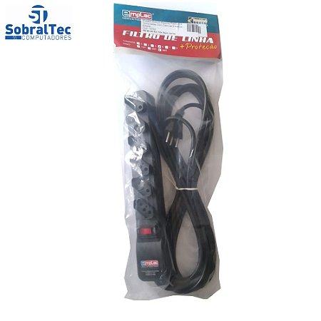 Protetor Eletrico Rearme Premium 6 Tomadas Com Cabo de 5 Metros -Emplac