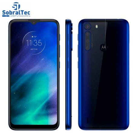 "Smartphone Motorola One Fusion 128GB Azul Safira - 4GB RAM Tela 6,5"" Câm. Quádrupla + Selfie 8MP"