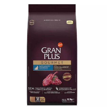 Ração Gran Plus Gourmet Gatos Castrados Ovelha 10 pct ind 1kg
