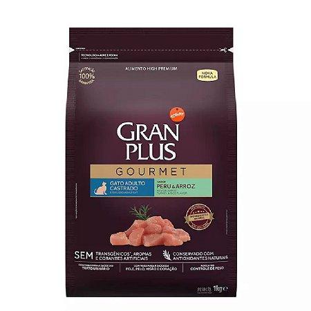 Ração Gran Plus Gourmet Gatos Castrados Peru e Arroz 1kg