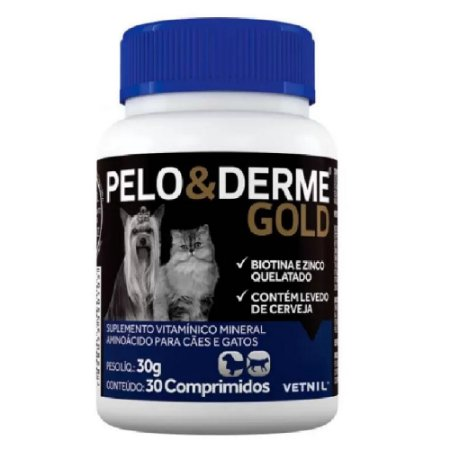 Pelo E Derme Gold 30 Comprimidos - Vetnil